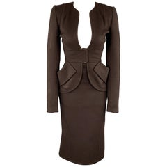 ZAC POSEN Size 2 Brown Felt Collarless Fishtail Pencil Skirt Suit