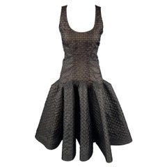 ZAC POSEN Size 6 Black Lace Ruffle Trumpet Skirt Cocktail Dress