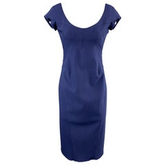 ZAC POSEN Size 6 Navy Blue Stretch Wool Cap Sleeve Sheath Dress