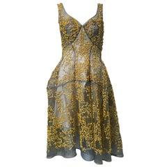 Zac Posen, Yellow Stick Coral Beaded Evening Dress, NEW!