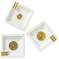 Zaccagnini Ashtrays, Ceramic, Gold and White, Geometric, Signed