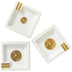 Zaccagnini Ashtrays, Ceramic, Gold and White, Signed