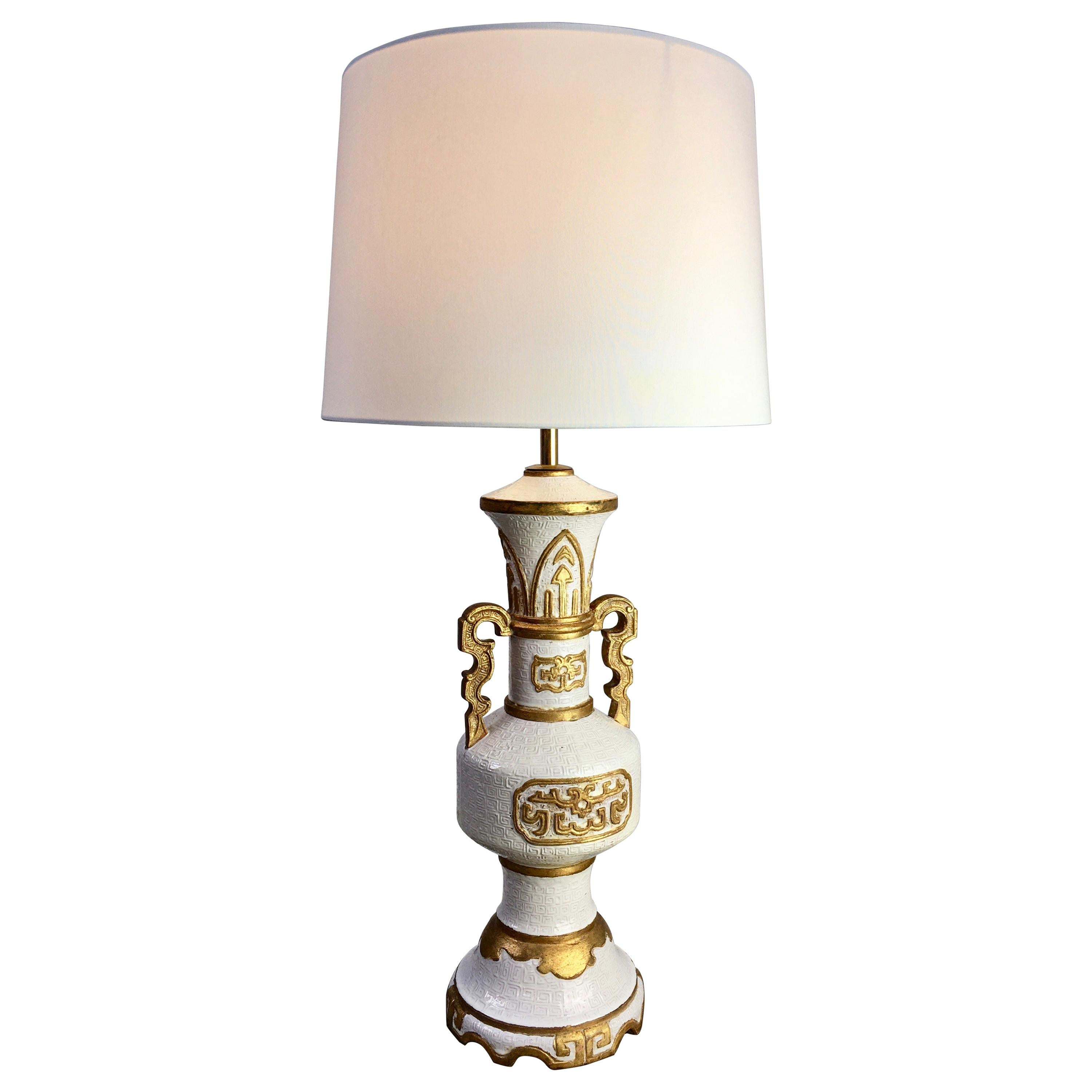 Zaccagnini Lamp in White with Gold Leaf, Italy, 1950s
