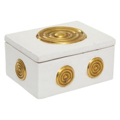 Zaccagnini Box, Ceramic, White and Gold, Signed