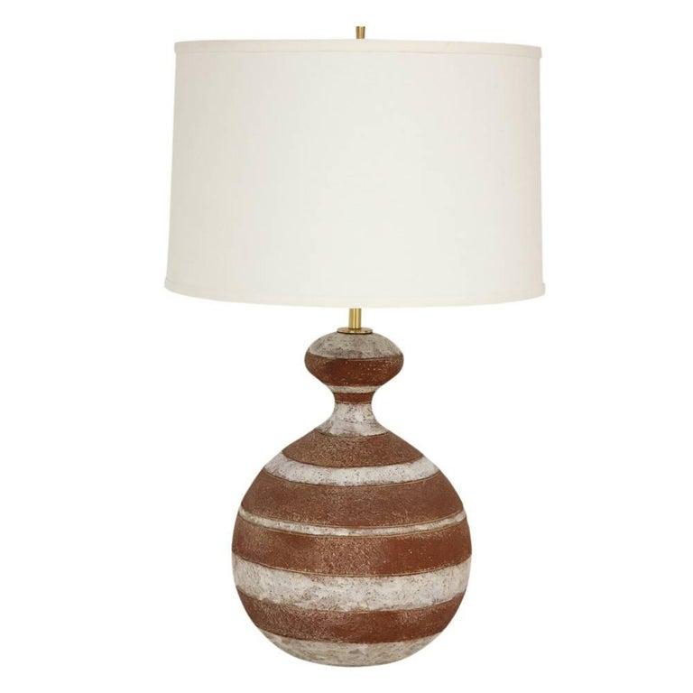 Zaccagnini Ceramic Table Lamp Stripes Terra Cotta Signed Italy