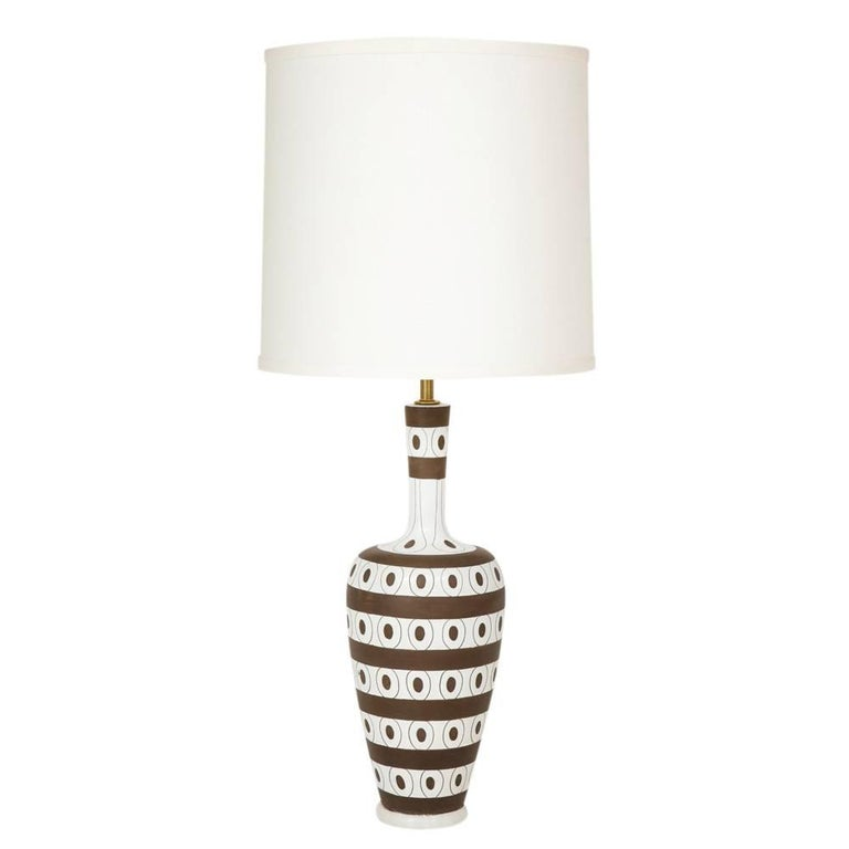 Zaccagnini Ceramic Table Lamp White Brown Stripes Dots Signed Italy 1950's