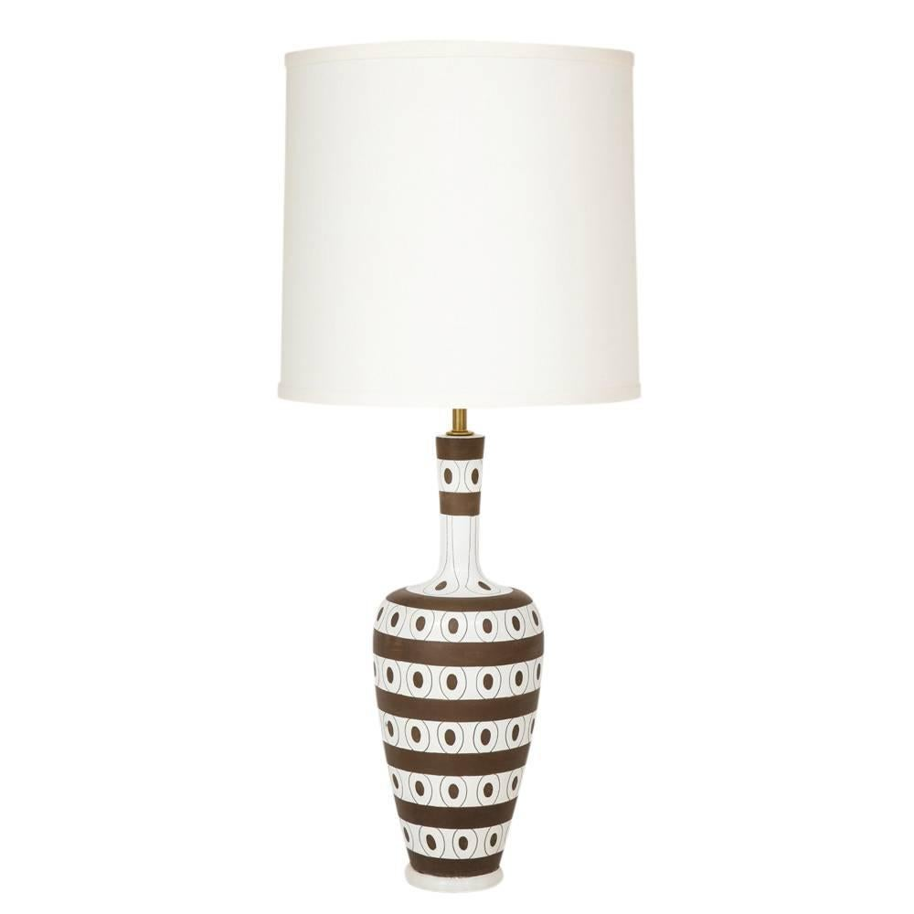 Zaccagnini Ceramic Table Lamp White Brown Stripes Dots Signed Italy 1950u0027s  For Sale