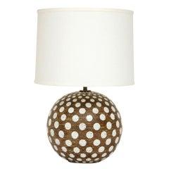 Zaccagnini Lamp, Ceramic, Brown White, Polka Dot, Signed