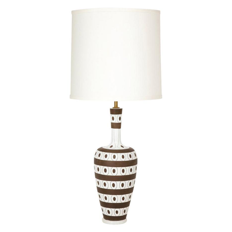 Zaccagnini Lamp, Ceramic Stripes Dots, White Brown, Signed