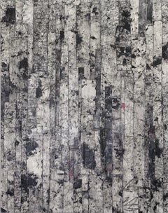 AS2003, Black and White Asemic Writing Abstract Expressionism Painting