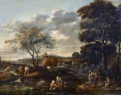 17th Century Zacharias Blijhooft Signed Landscape En Plen Air Oil on panel Green