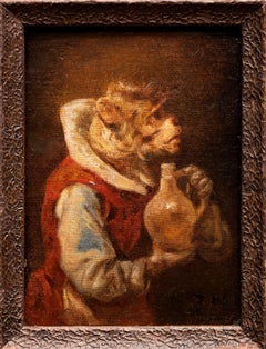 Portrait of a Monkey with Wine Jug, Zacharias Noterman (Bel. Fr. 1820-1890)