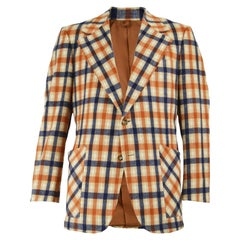 Zachary All of California Mens Vintage Orange Plaid Check Blazer Jacket