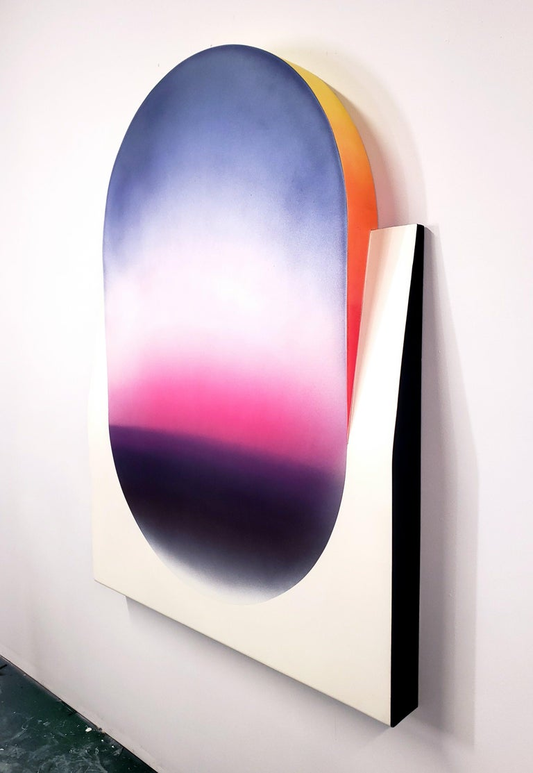 Color Fade (Form & Flow Series), by Zack Smithey Abstract Oil Enamel Board White  From Zack Smithey:  I allow ideas to evolve and intertwine.  And with each iteration the artwork slowly morphs, as the DNA from each body of work passes on