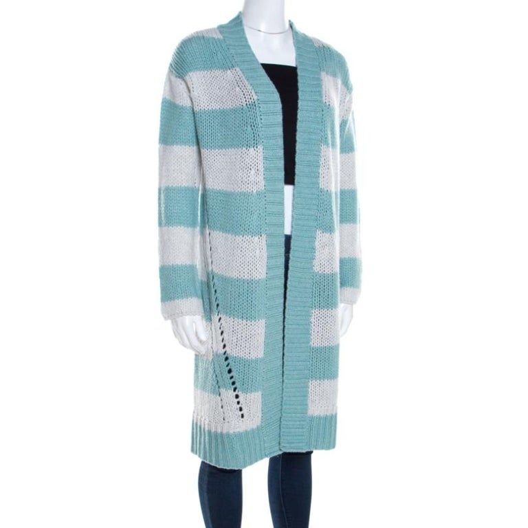 Blue Zadig and Voltaire Bicolor Striped Cashmere Romy Raye Deluxe Cardigan XS For Sale