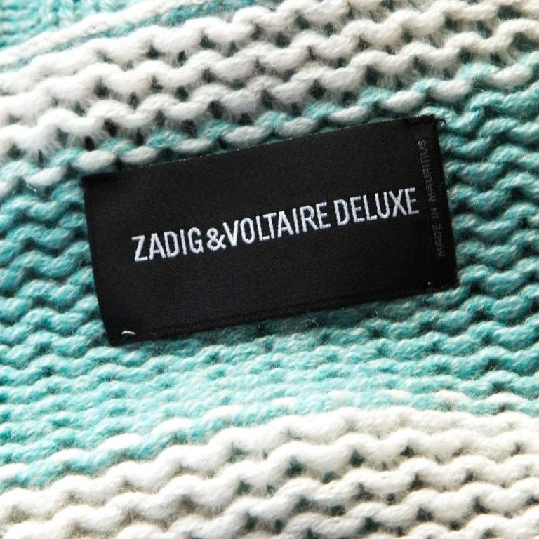 Zadig and Voltaire Bicolor Striped Cashmere Romy Raye Deluxe Cardigan XS In New Condition For Sale In Dubai, Al Qouz 2