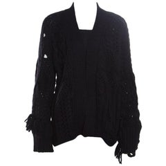 Zadig and Voltaire Black Chunky Knit Tassel Trim Dalia Cardigan L