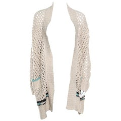 Zadig and Voltaire Cream Crochet Knit Merino Wool Open Front Pix Hook Cardigan M