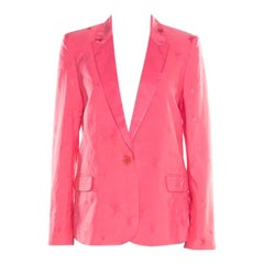 Zadig and Voltaire Deluxe Rose Pink Victor Star Jacquard Tailored Blazer M