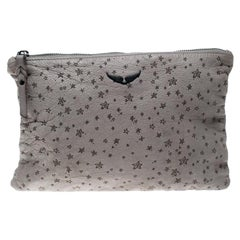 Zadig and Voltaire Grey Printed Leather Clutch