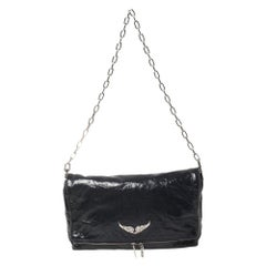 Zadig & Voltaire Navy Blue Crackled Patent Leather Rock Shoulder Bag