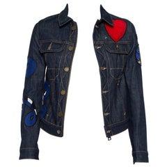 Zadig & Voltaire Navy Blue Denim Applique Detail Kioky Brode Jacket XS