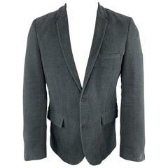 ZADIG & VOLTAIRE Size M Charcoal Cotton Velvet Notch Lapel Sport Coat