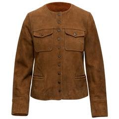 Zadig & Voltaire Tan Suede Collarless Jacket