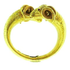 Zadora Aries Zodiac Astrological Yellow Hammered Gold Ruby Cuff Bracelet