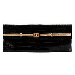 Zagliani Black Crocodile Leather Clutch Bag