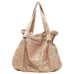 ZAGLIANI Hand made genuine brown scaled leather dumping hobo shoulder bag