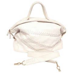 Zagliani Ivory Large Python and Leather Puffy Bag w/ Double Top Handles