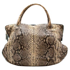 Zagliani Python Leather Tote Bag 44cm