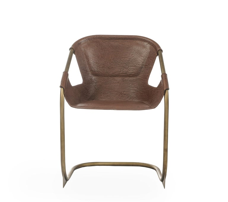 Modern Zahir, Contemporary Dining Chair in Leather with Aged Brass Legs For Sale
