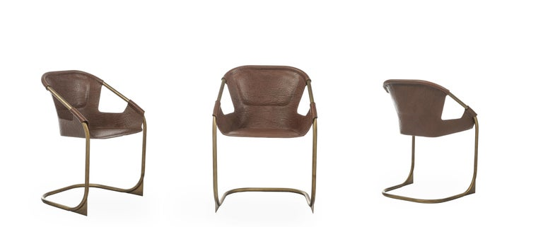 Asian Zahir, Contemporary Dining Chair in Leather with Aged Brass Legs For Sale