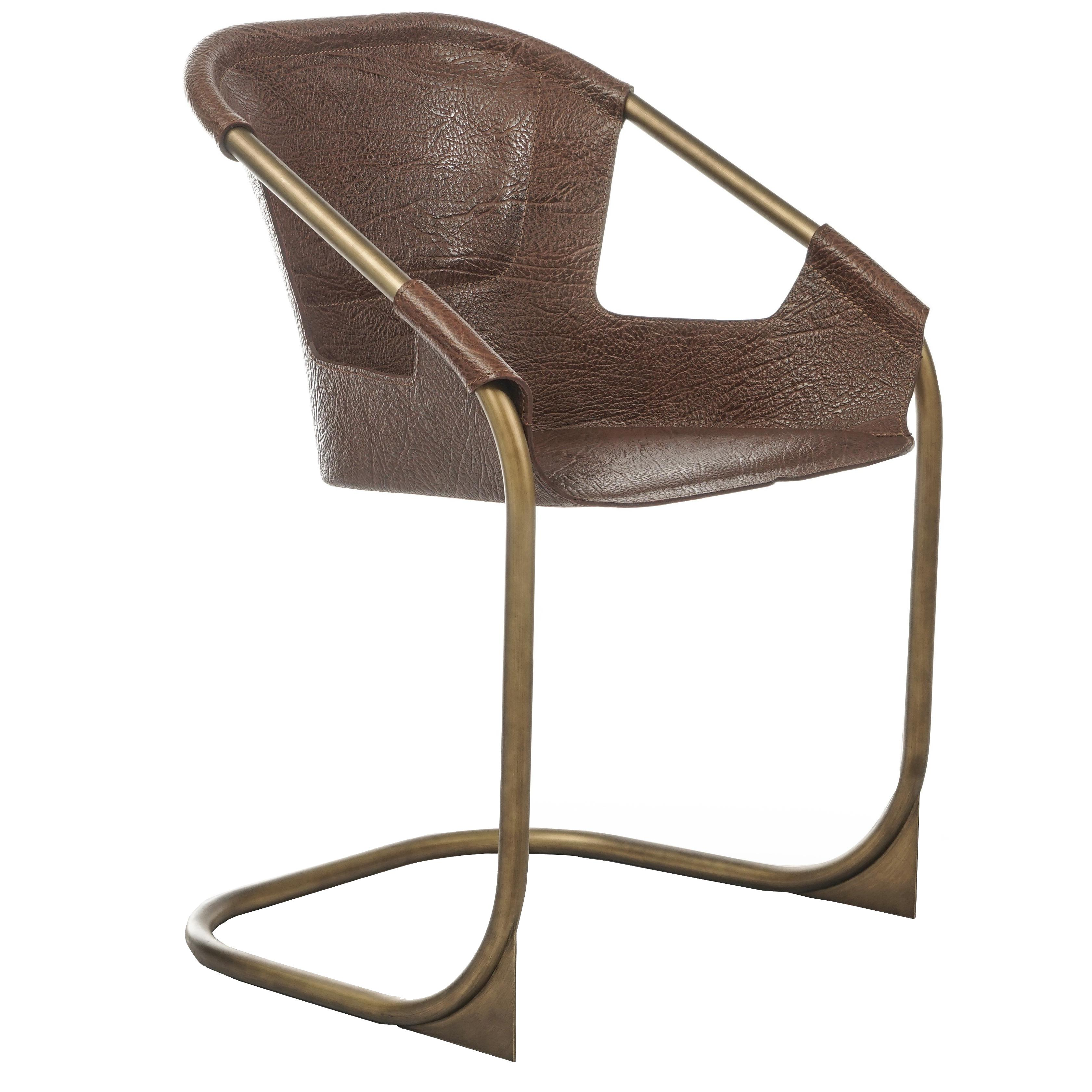 Zahir, Contemporary Dining Chair In Leather With Aged Brass Legs For Sale