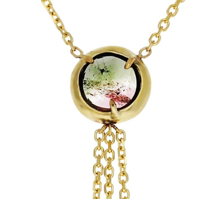 Rose Cut Zahra 18 Karat Yellow Gold Rose-Cut Tourmaline Necklace For Sale