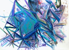 Harmony of Triangles teal and purple gestural architectural abstraction