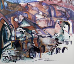 """Village"", a hamlet in the mountains, abstracts architecture in pinks an violets"