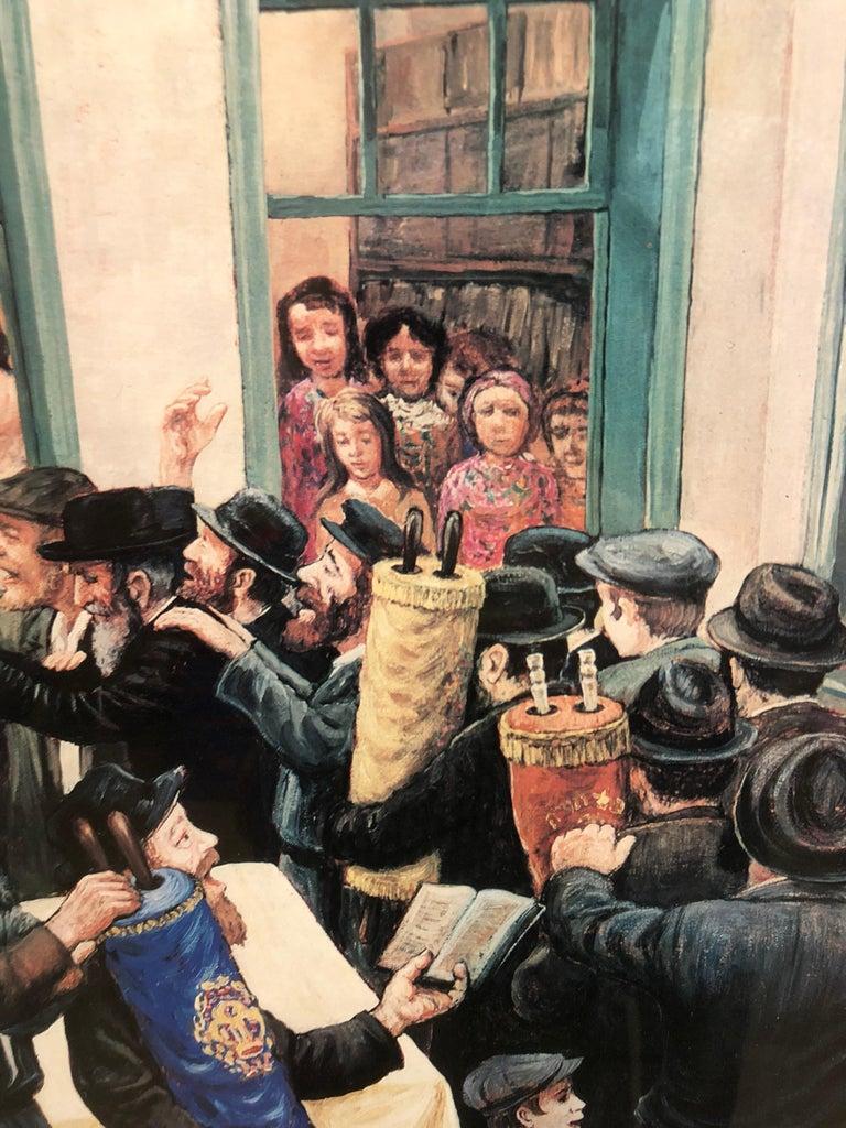 Vintage 1980 Judaica Chassidic Poster Simchas Torah Hakafos Chabad Artist  - Realist Print by Zalman Kleinman