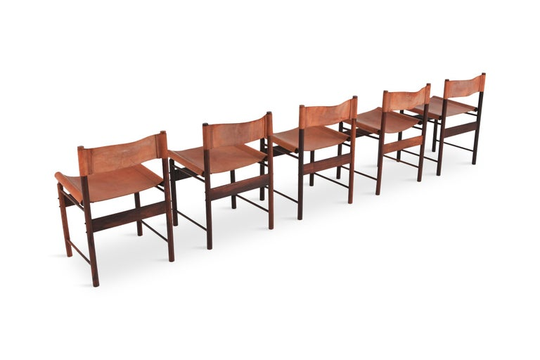 Mid-Century Modern Zalszupin Jacaranda Dining Chairs with Cognac Saddle Leather Seating For Sale