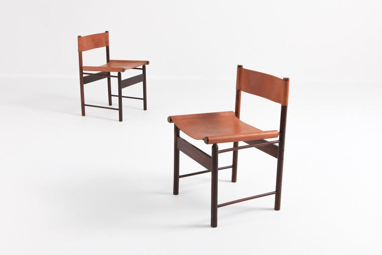 Zalszupin Jacaranda Dining Chairs with Cognac Saddle Leather Seating In Good Condition For Sale In Antwerp, BE