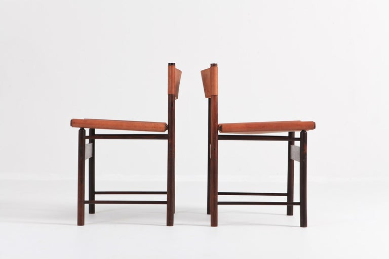 Mid-20th Century Zalszupin Jacaranda Dining Chairs with Cognac Saddle Leather Seating For Sale
