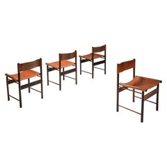 Zalszupin Jacaranda Dining Chairs with Cognac Saddle Leather Seating