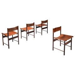 Zalszupin Jacaranda Dining Chairs with Cognac Saddle Leather Seating