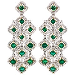 Zambian Square Cut Emeralds 7.11 Carat Chandelier 18k Gold Earrings