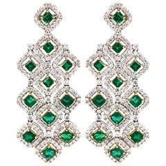 Zambian Square Cut Emeralds 7.11 Carat Chandelier 18k Gold Earrings