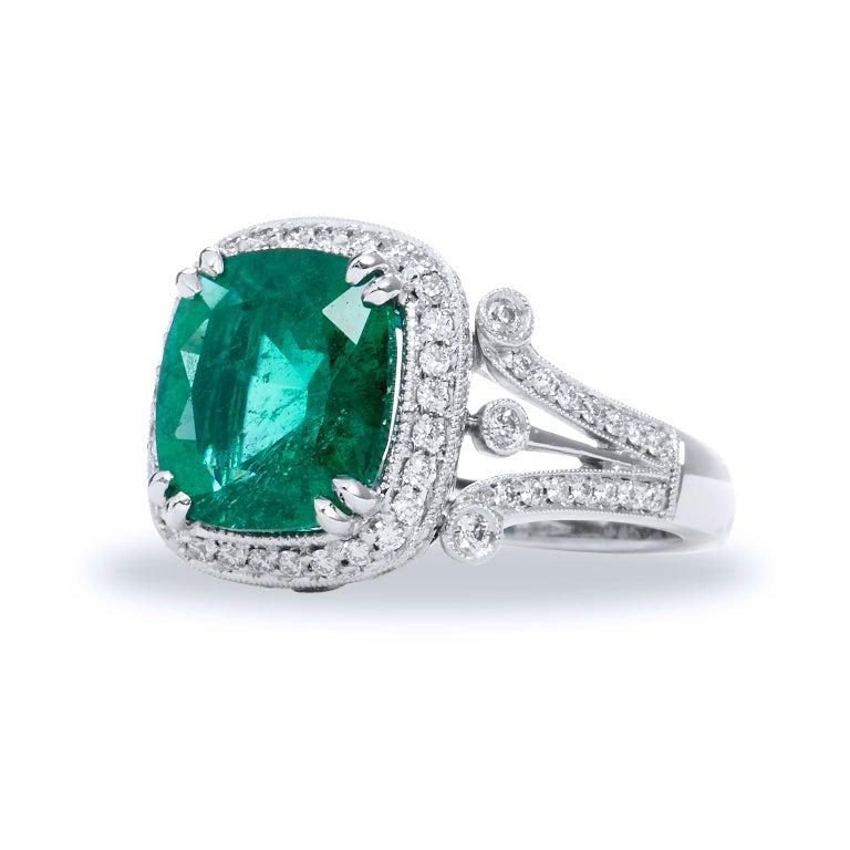 Emerald Cut Zambian Cushion Cut Emerald Diamond Ring For Sale
