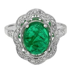 Zambian Emerald 2.75 Carat White Gold Diamond Cocktail Cluster Ring