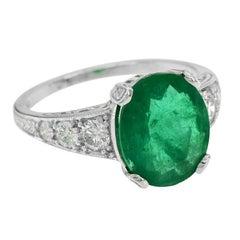 Zambian Emerald 3.08 Carat with Diamond Cocktail Ring